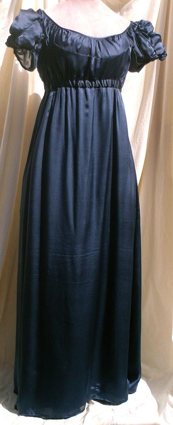 English Regency Gown in Sapphire Blue Satin Faced Chiffon by SatinShadowDesigns