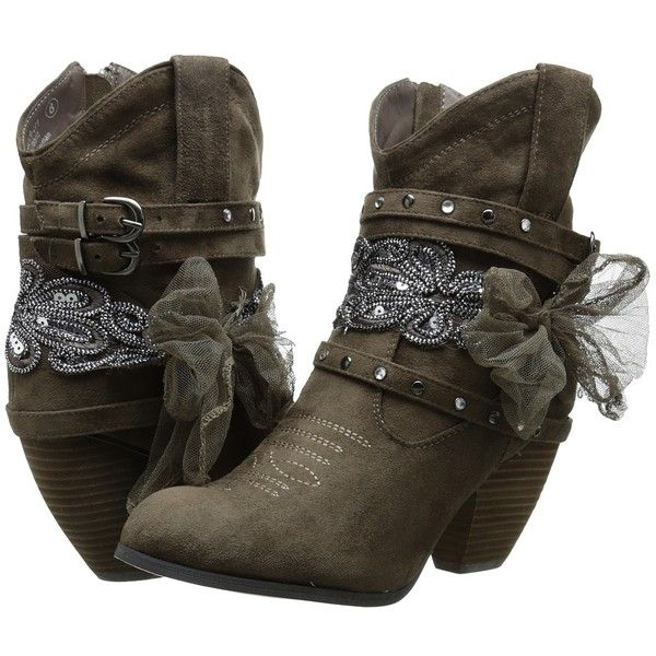 Not Rated Stash Women's Pull-on Boots ($80) ❤ liked on Polyvore featuring shoes, boots, ankle booties, ankle boots, pull on boots, high heel booties, buckle booties, studded boots e round toe ankle boots