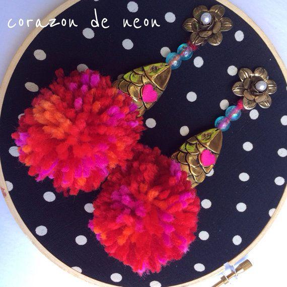 Fish bait earrings by corazondeneon on Etsy, $30.00