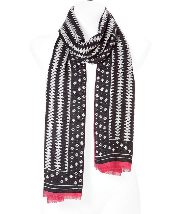 Black/Rose Patterned Cashmere Scarf