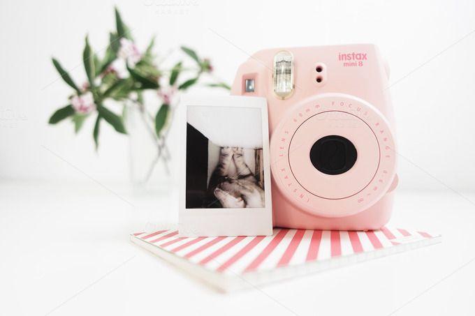 Camera Instax mini Pink / Hero image by epicerie du blog on @creativemarket