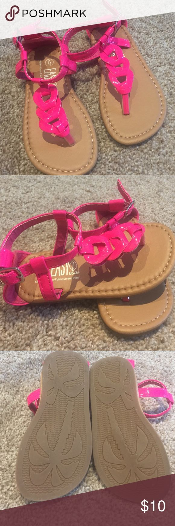 Toddler size 6 neon sandals. Super cute bright neon sandals!  Pink color with tan base.  Made by Easy USA Easy USA Shoes Sandals & Flip Flops
