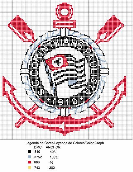 Artes de Vivi - Artesanatos em Geral: Gráfico de Bordado em Ponto Cruz - Corinthians