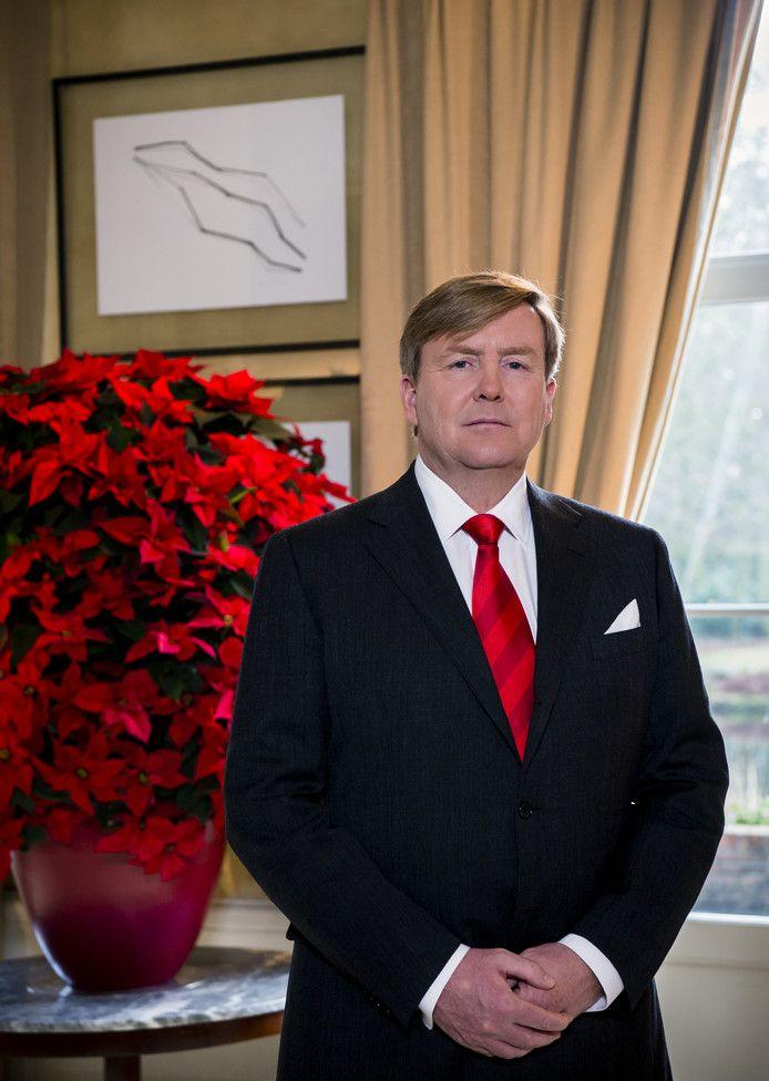 Koning Willem-Alexander tijdens zijn kersttoespraak.