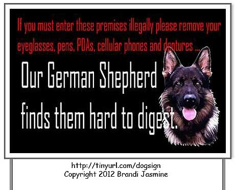 If you must enter these premises illegally please remove your eyeglasses, pens, PDSs, cellular phones and dentures ... our German Shepherd finds them hard to digest. #fidofriday #dogs #GermanShepherd