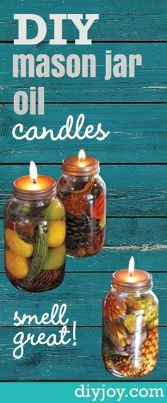 DIY Mason Jar Oil Candles -Rustic Home Decor Projects, Recipes, Mason Jar Crafts and DIY Ideas by DIY Joy http://diyjoy.com/how-to-make-mason-jar-oil-candles