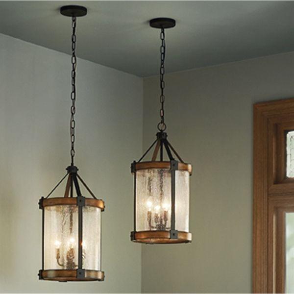 Kichler Lighting Barrington Distressed Black and Wood Rustic Mini Seeded Glass Cylinder Pendant
