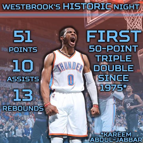 The year of ridiculous Russell Westbrook stat lines has begun.