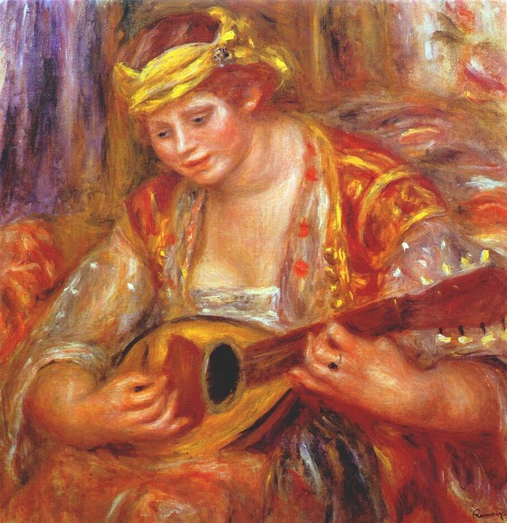 Woman with a mandolin - Renoir Pierre-Auguste