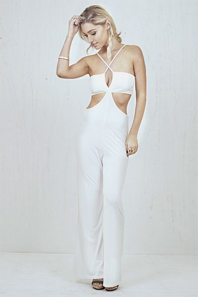 Fearless Cut Out Jumpsuit White   Nelly & Me