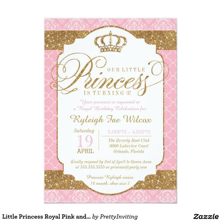 """Poco rosa de la Princesa Real y cumpleaños del oro Invitación 5"""" X 7"""""""