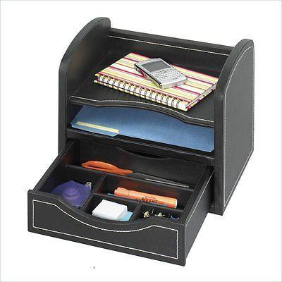 Safco Leather Look Desk/Drawer Organizer Black Desktop Organizers