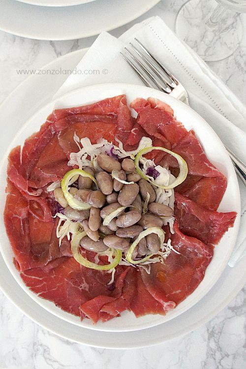 Carne salada e fasoi - Salt beef carpaccio and beans (typical trentino dish)   From Zonzolando.com