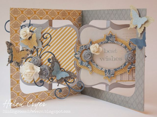 Helen Cryer using the Accordion Album, Frame & Label Bracket and Bigz Fancy Frame dies - The Dining Room Drawers: Accordion Album & Stampin' Up Butterfly Punch Birthday Card