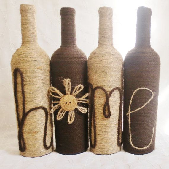 FREE SHIPPING Yarn and Twine Wrapped Wine Bottles Home Decor Set of 4 Dark Brown and Jute Decorated Bottles Apartment Decor