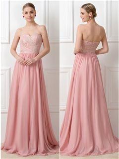 Pretty una línea de encaje de cremallera-para arriba vestido largo de dama de honor convertible