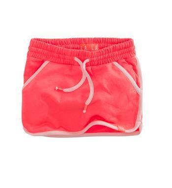 Z8 sweat rokje met licht roze accenten. Model Marly. Neon coral - NummerZestien.eu