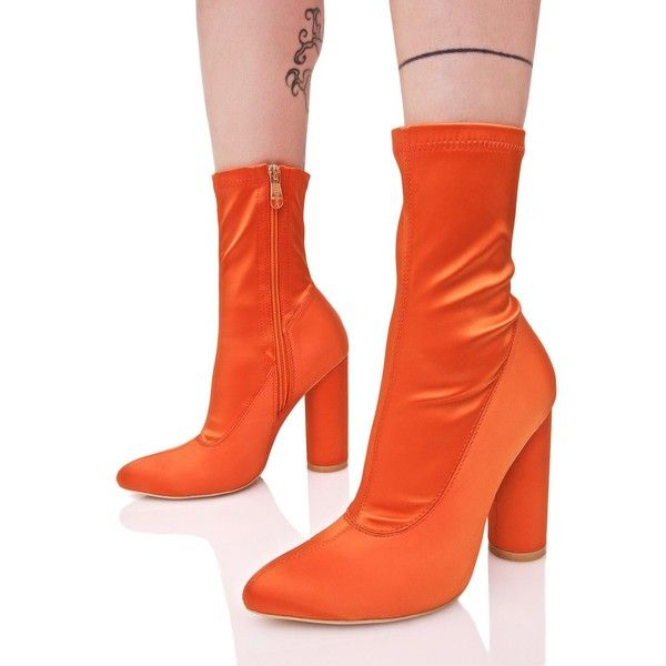 Orange Satin Ankle Boots ($48) ❤ liked on Polyvore featuring shoes, boots, ankle booties, mid-calf boots, pointy toe booties, block heel ankle boots, pointy toe bootie and round booties