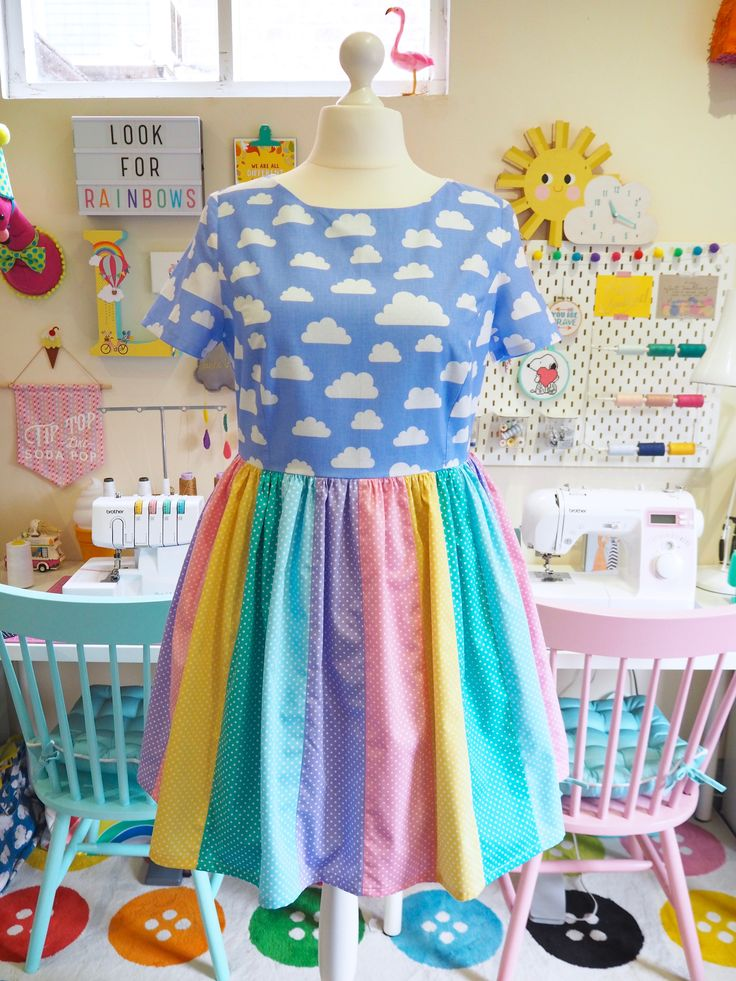 Made to Order Rainbow Dress (with added sleeves) - Ladies Handmade Dress