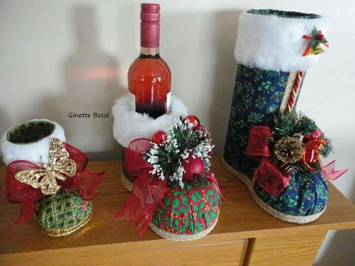 Botas navide as recicladas navidad christmas for Navidad adornos manualidades navidenas