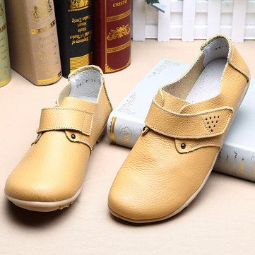 Women Leather Shoes Color Flats Slip On Loafers - US$23.36