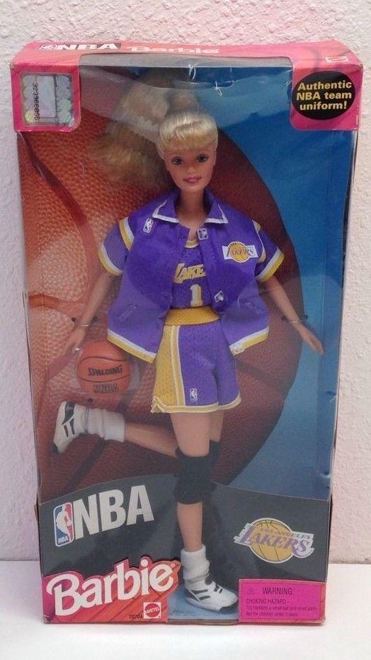 1998 NBA Barbie Doll Los Angeles Lakers Team with Mini Basketball Mattel #Mattel #Dolls