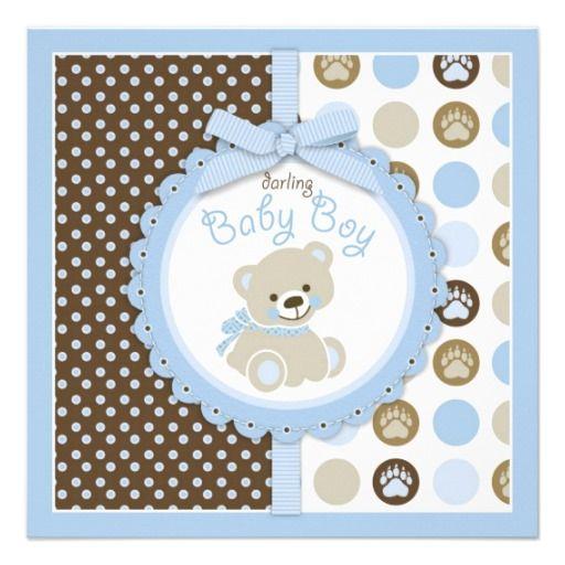 Teddy Bear Boy Baby Shower Blue 2 Personalized Invite