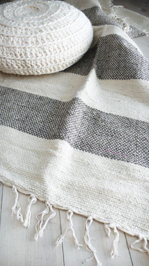 Image of Moroccan Blanket/Rug with fringes - Natural undyed with gray bands