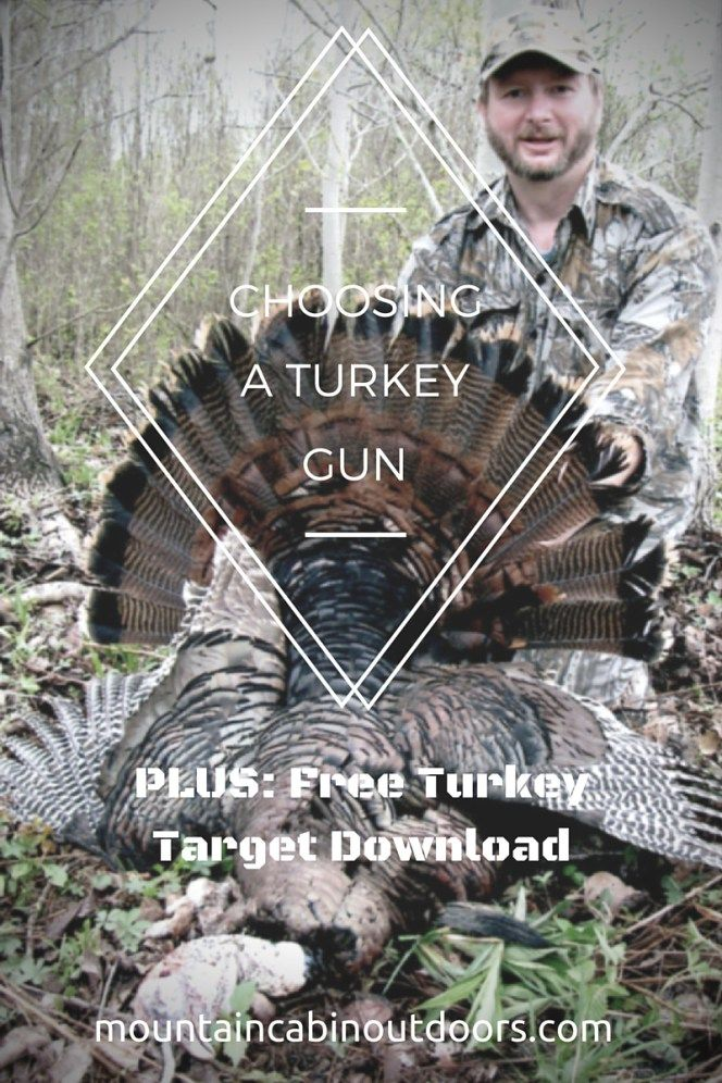 Choosing a weapon to hunt wild turkeys is the first step in assembling your turkey hunting gear. What you use will dictate what other pieces of equipment you'll need for the sport. Get some tips on how to choose your weapon, and download a free 2-part printable turkey target! | Mountain Cabin Outdoors | mountaincabinoutdoors.com