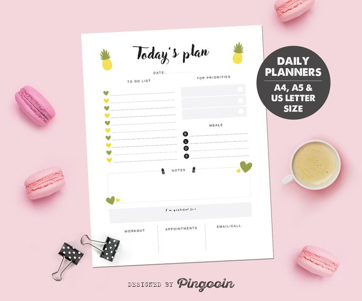 Daily printable planner. Daily schedule. Daily insert. Agenda inserts. Size A4, A5 & US Letter. Digital file for instant download. DP04 by Pingooin on Etsy