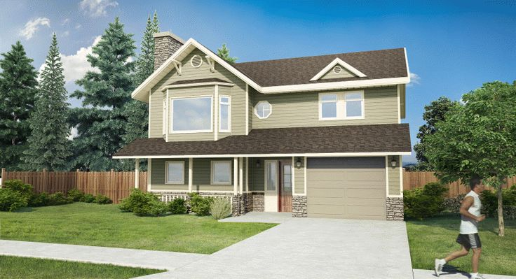 Plan No. 200298 - Small does not have to mean plain. A porch protects the front entrance and leads into attractive foyer with its open spindled railing. Upstairs, a combined living and dining room or 'great room' provides plenty of entertaining space.