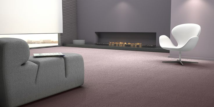 A sparse, minimalistic interior with purple carpet and modern design furniture. AW Citylife, discover more on www.carpetyourlife.com!