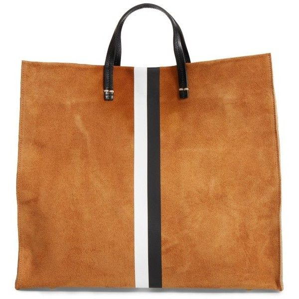 Women's Clare V. Simple Stripe Suede Tote ($495) ❤ liked on Polyvore featuring bags, handbags, tote bags, camel suede, man bag, handbag purse, handbags totes, tote purses and striped tote