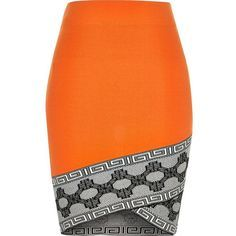 River Island Orange knitted pattern hem pencil skirt (91 AUD) ❤ liked on Polyvore featuring skirts, orange, mini skirts, women, pattern skirt, fitted skirts, fitted pencil skirt, print skirt and orange skirt