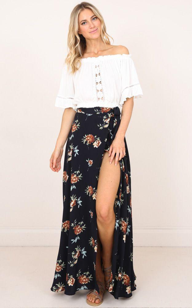 En Skirt Break Leg Pinterest Floral 2019Outfit A In Ink Maxi ECxBerWQdo