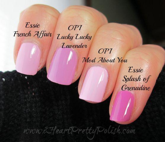 Lavender/Pink Comparison - Essie: French Affair, OPI: Lucky Lucky Lavender, OPI : Mod About You, Essie: Splash of Grenadine