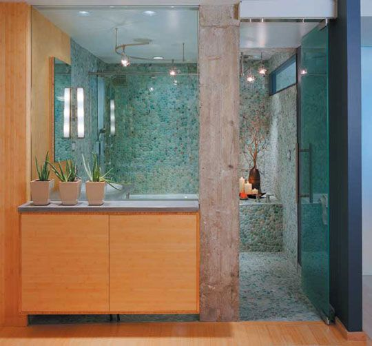 bathroom with river rock tile