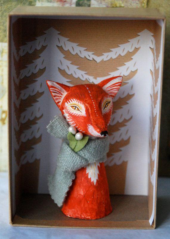 Fergus the Fox - Handmade Palmsized Head by Sarah Young