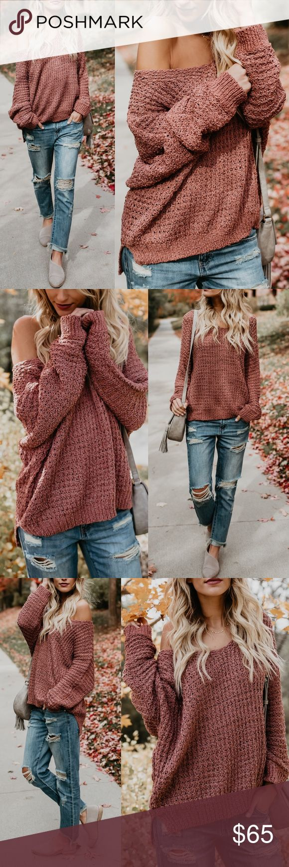 "NYA Cuddly Sweater - MARSALA * V-Neck * Not Lined * Size Small/ Medium: 27"" from shoulder to hem * 55% Cotton and 45% Acrylic  * Model is 5'7"" and wears a Small   NO TRADE PRICE FIRM Bellanblue Sweaters"