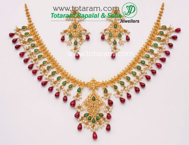 Check out the deal on 22K Gold Uncut Diamond Necklace & Drop Earrings Set with , Emeralds , Ruby drops & Pearls at Totaram Jewelers: Buy Indian Gold jewelry & 18K Diamond jewelry