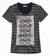 футболка, женская, черная, полосатая, с принтом