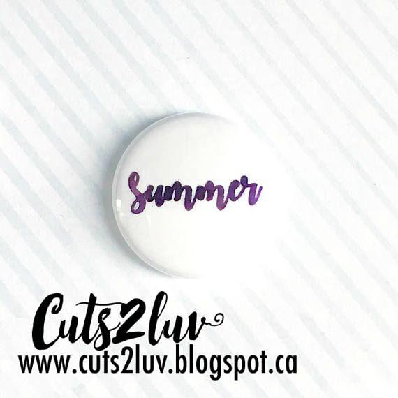 "Badge 1"" Summer métallique violet"
