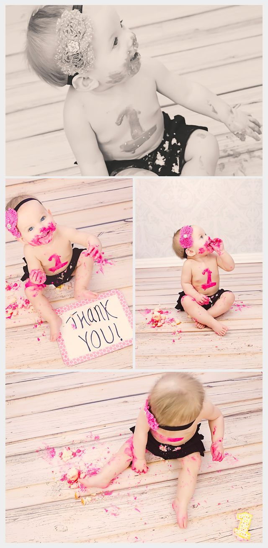 Little Girl One Year Cake Smash Photos - Deanne Mroz Photography