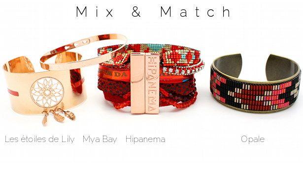 Mix & Match www.lilishopping avec la manchette DreamCatcher plaquée or rose Les étoiles de Lily, un bracelet gravé plaqué or rose Mya Bay, la manchette Lobster Hipanema et le bracelet Yuma O'hara d'Opale