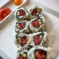 This is a classic Yellow Fin Tuna Sushi Roll.  Super simple to make and a must on any Tuna lovers menu.