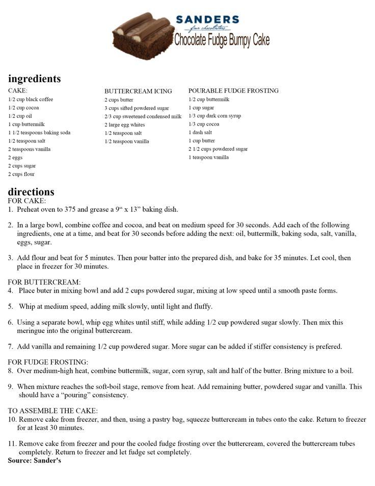 Sanders Bumpy Cake Copycat Recipe