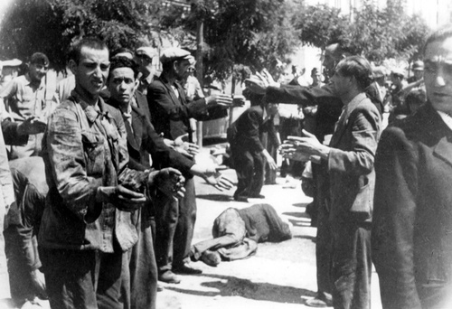 "In Saloniki, Greece, on November 11, 1942, 9000 Jewish men aged 18-45 were ordered by the German army to come to Eleftheria (Freedom) Square to be registered for forced labor. For hours they were forced to stand in the sun while suffering abuse and humiliation  directed toward them by the German soldiers. The incident became known by local Jews as the ""Black Sabbath""."