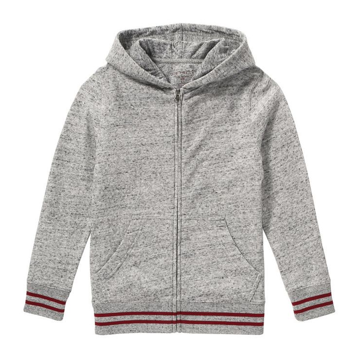 Kid Boys' Melange Hoodie from Joe Fresh. Zip up a cozy layer complete with a speckled melange effect and varsity stripes. Only $14.94.