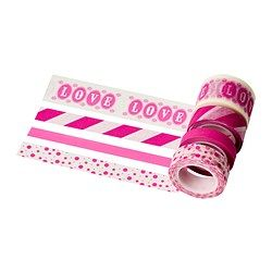 FRAMSTÄLLA roll of tape, set of 4, assorted patterns pink