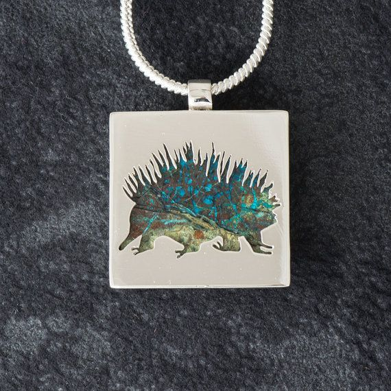 Echidna featuring Spiderweb Chrysocolla  - Hand-cut Reversible Sterling Silver Pendant